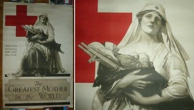Original WW1 1918 Red Cross Poster 28x42 Greatest Mother in the World SHIPS FREE