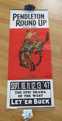 Original 1947 pendleton round up long paper poster Wallace Smith artist