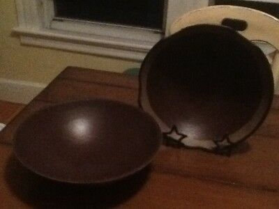 PRIMITIVE BOWLS WITH iron plate holder - $10.00 | PicClick