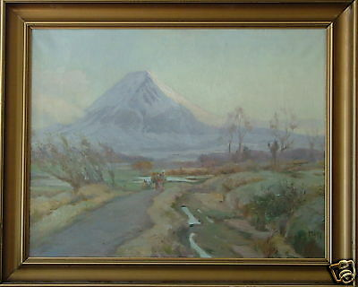 HUGO V PEDERSEN 1870-1959 DENMARK MT. FUJI PATH JAPAN w FIGURES LANDSCAPE OIL