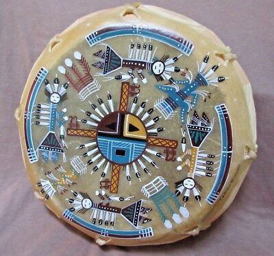 Navajo Rare Gorgeous Hand Made & Painted Yei Dancers Drum by Tanya Hogue HP0067