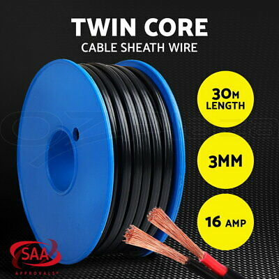 Twin Core Wire 30M 3MM SAA 2 Sheath Electrical Cable Automotive CARAVAN 4X4 12V