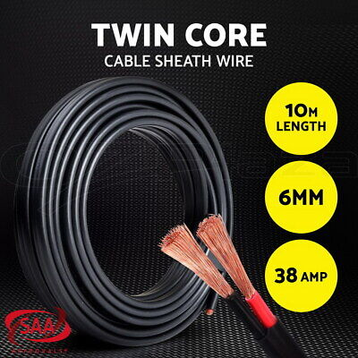6MM Electrical Cable Electric Twin Core Extension Wire 10M Car 450V 2 Sheath