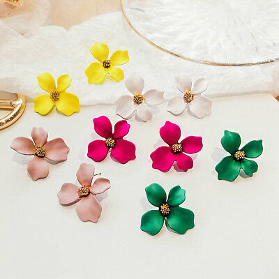 Women Charm Fashion Boho Painting Big Flowers Ear Stud Earrings Jewelry Summer