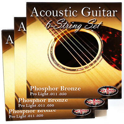 3x PACKS - Adagio Pro ACOUSTIC GUITAR Strings 11-50 Phosphor Bronze Light NEW