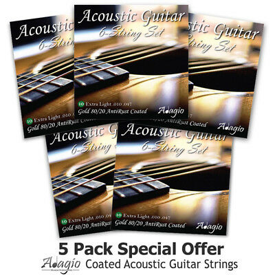 ACOUSTIC Guitar Strings Coated Extra Light Gauge 10 by Adagio 4 SETS +1 FREE!