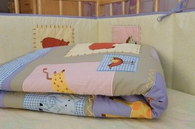 NEW 5 pcs baby bedding (nursery, cotbed set ) Jungle animals 100% cotton unisex