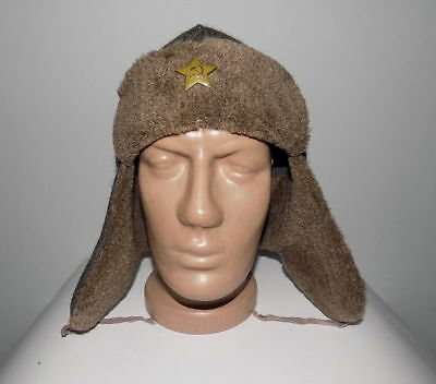 """USSR CAP WITH EAR-FLAPS OF TIMES USSR WWII 1940 Star """"HOT ENAMEL"""" #23418"""