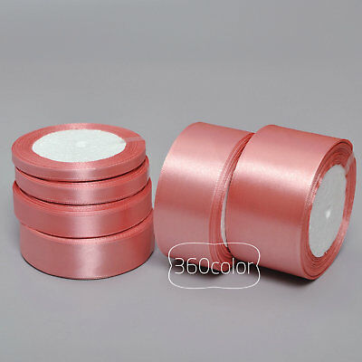 25 Yards Coral 6mm to 50mm Satin Ribbon Gift Bow Wedding Party Craft Decoration