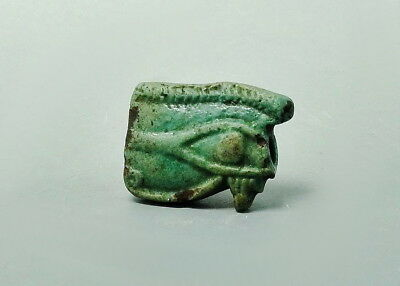 Large Double Sided Egyptian Faience Eye Of Horus Amulet (L999)