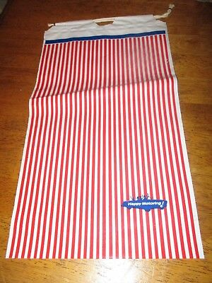 vintage Happy Motoring Draw String Plastic Bag 14 x 8  red white stripe