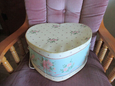 "Vintage  Collectible Heart Shaped Hat Box W Flower Design Pink Roses 14"" X 6"""