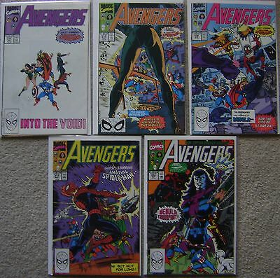 Avengers #314-318 Marvel Comics (5) Comic Run 1990 FN to VF Spider-Man Story Arc