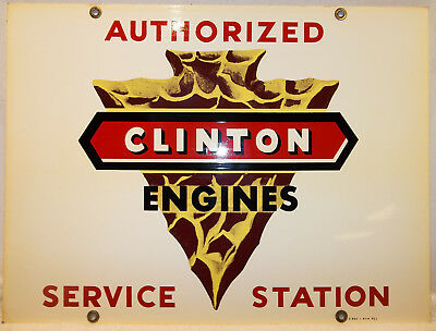 Vintage Clinton Engines Authorized Svc.Sta. Double Sided Sign ATTIC FIND Nr.MINT