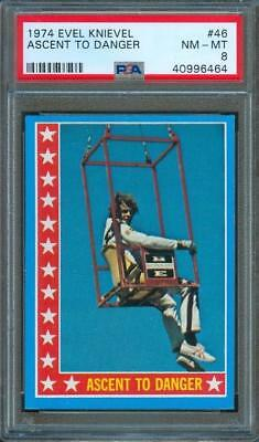 "1974 Topps EVEL KNIEVEL ""Ascent to Danger"" Original Trading Card #46 PSA 8"