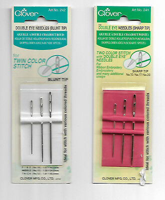 Clover - DOUBLE EYE NEEDLES - 3 sizes each, Choose Blunt or Sharp Tips