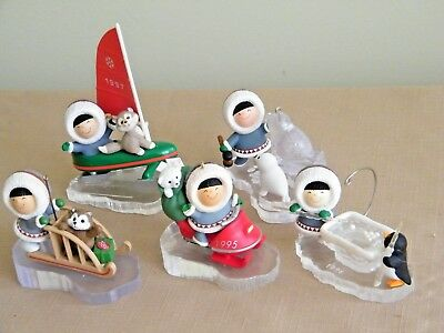 Lot of 5 Vintage Hallmark Frosty Friends Ornaments 1989, 95, 96, 97, & 2000