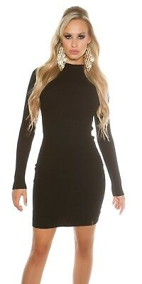 Bang On The Trend Premium Black Ribbed Turtle Neck Mini Bodycon Dress Size 8-14