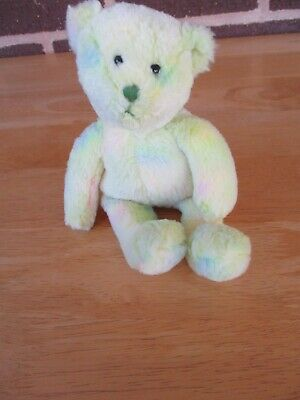 "TY Beanie Babies  Bear Named ""Flora"" Pastel 8"" Tall 2007 Stuffed Plush & Beanie"