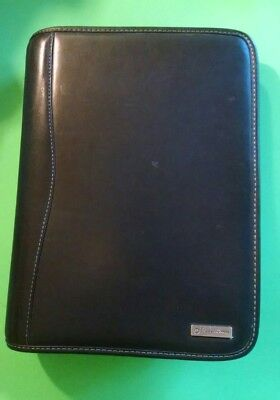 "FRANKLIN COVEY Black Leather Calendar Binder Classic Size 7- 1.5"" Rings"