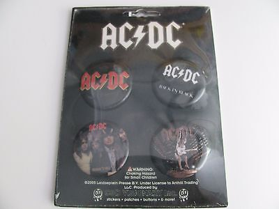 """2005 Ac/dc  4 Piece Button Badge Pin Set  1 1/2"""" New In Package"""