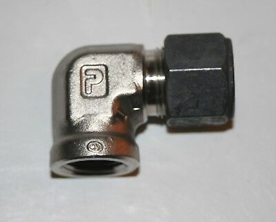 """3/8"""" Tube x 3/8"""" FNPT SS Female Elbow Connector Parker CPI 6-6 DBZ-SS"""