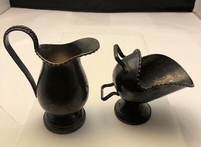 Antique MAPPIN & WEBB Silverplate Etched Sugar Scuttle (no scoop)  & Creamer