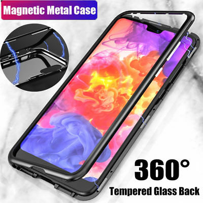 Magnetic Adsorption Metal Case For Huawei P20 Pro Luxury Tempered Glass Cover US