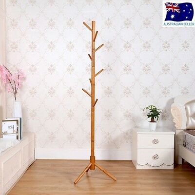 Stained Wood Vintage Coat Stand Rack Clothes Hanger Hat Jacket Bag Umbrella