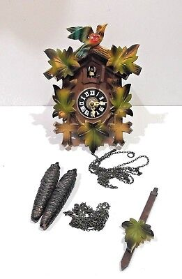 Vintage c1980s 90s cuckoo wall clock carved wood coloured spares or repair