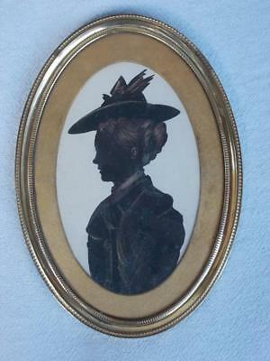 585 / Antique Late 19Th Century Silhouette Hightened With Gold Paint Of A Lady