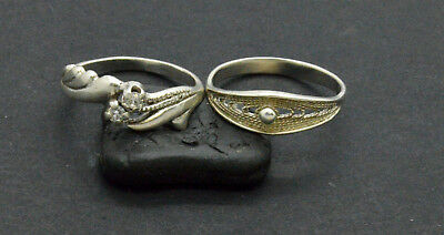 Antiquarian Silver Rings with rock-crystal gemstones. 20 Century. 4gr