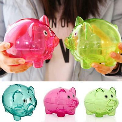 Clear Plastic Piggy Bank Coin Money Cash Collectible Saving Box Pig Toy Kids UK