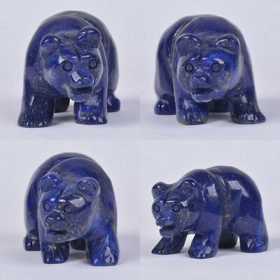 "52mm Hand carved natural lapis bear figurine 2"" *each one pictured*"