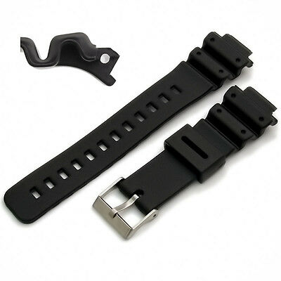 Watch Strap Black Resin 16mm fitting, 25mm shoulders Fits Casio MCW-100H