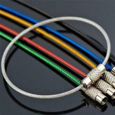 6PC Stainless Steel Wire Keychain Cable Key Ring For Camping EDC Outdoor Gifts