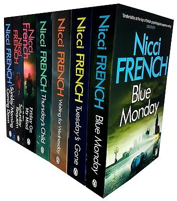 Nicci French Collection Blue Monday Tuesday's Gone Thursday's Child 7 Books Set