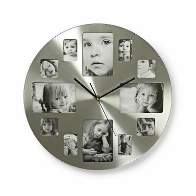 Silver Hanging Modern 12 Multi Photo Family Picture Frame & Time Wall Clock NEW