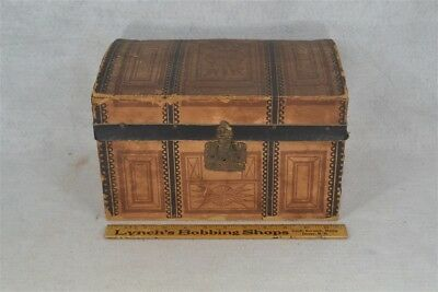 trunk dome top doll wood  tray insert original paper 12x7x7 good 1800 antique