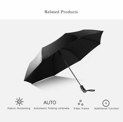 Panmer Fast Drying Travel Black Umbrella Windproof Frame Auto Open and Close