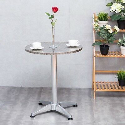 Home Stainless Steel Aluminium Round Cafe Bistro Table Desk Vintage Furniture US