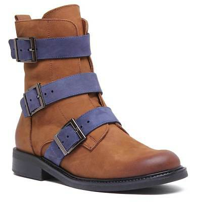 Justin Reece Womens Soft Leather Buckle Military Boot Brown Blue Size UK 3 - 8
