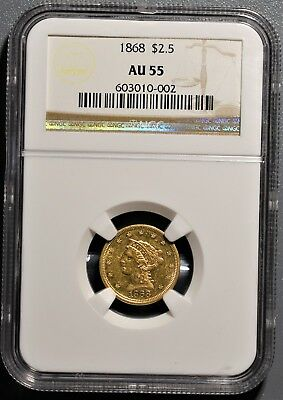 1868 $2.50 Liberty Gold Coin, Certified By Ngc Au55,  Gb157