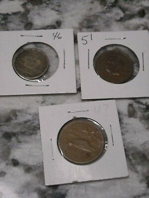 Lot of Mexican Coins 1957 20 cent 1964 10 cent 1951 cinco