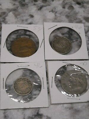 Lot of Mexican Coins 1946 5 cent 1954 20 cent 1970 unpeso 1946 10 cent