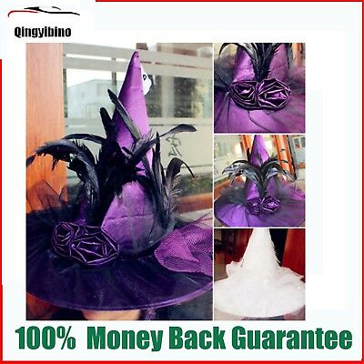 Womens Witch Hat Adult Costume Accessory Halloween Fancy Halloween Cosplay
