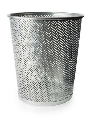 New Blue Canyon Henley Round Waste Paper Bin Metal Silver BA5003S