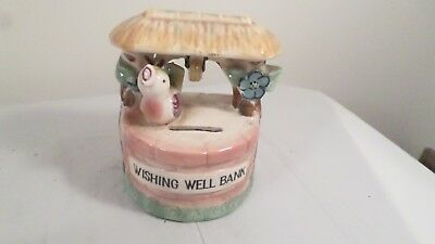 Vintage Ceramic Art Pottery WISHING WELL BANK Made Japan Still Piggy Bank Bird