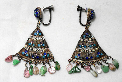Antique Chinese Brass, Jade and Amethyst Enamel Earrings