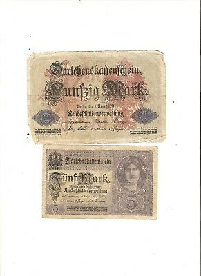 2 Ww I World War 1 German Empire  Rare Old Collectable Money Germany 50 Marks 5